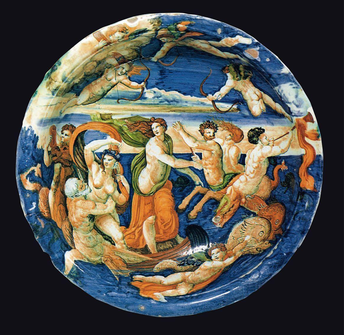Bacile in maiolica istoriata, 1570 c.